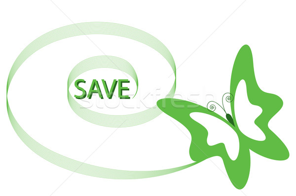Logotípus pillangó spirál szalag zöld szín Stock fotó © Irinavk