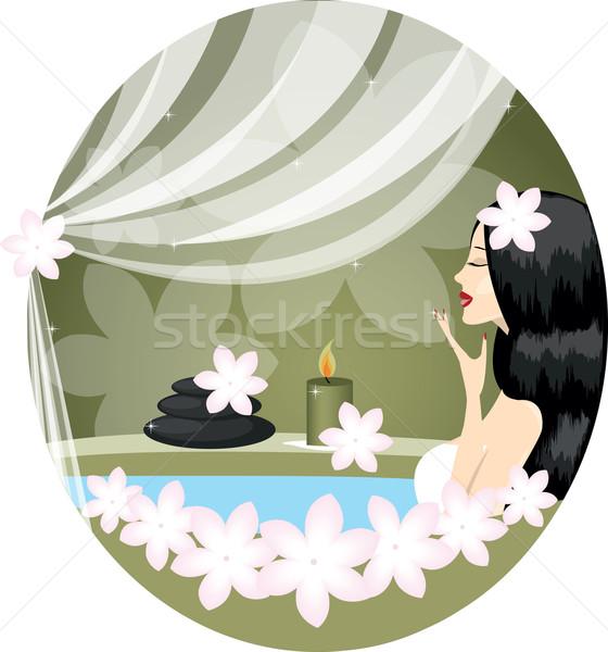 Lány nő megnyugtató fürdőkád virágok virág Stock fotó © Irinavk