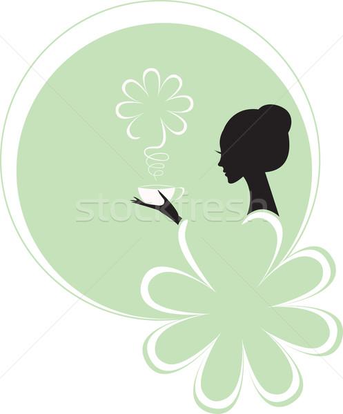 Nina mujer taza té verde Foto stock © Irinavk