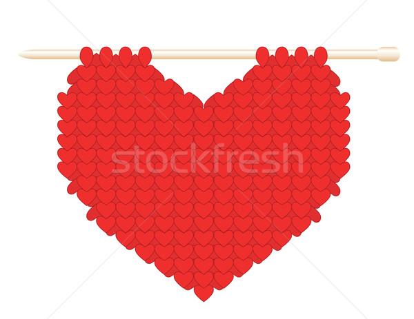 Gebreid hart goud spaak witte liefde Stockfoto © Irinavk
