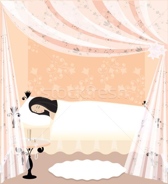 Ninas mujer sueno cama habitación belleza Foto stock © Irinavk