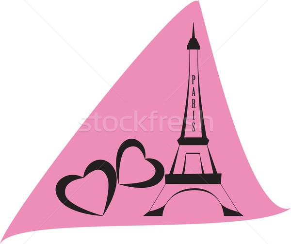 Eiffel Tower París rosa corazón marco viaje Foto stock © Irinavk