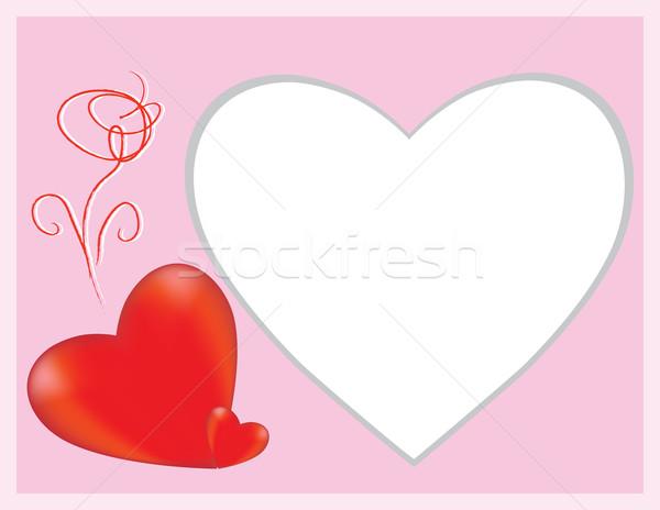 Nyilatkozat szeretet szív virágok rózsa művészet Stock fotó © Irinavk