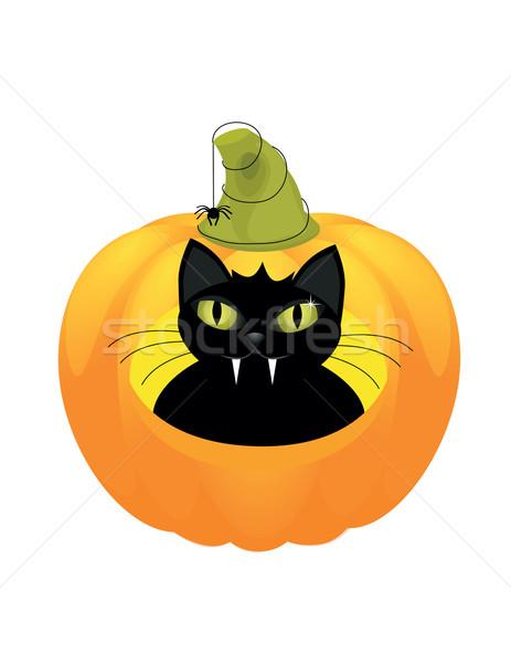 Macska halloween tök aranyos fekete macska mosoly művészet Stock fotó © Irinavk