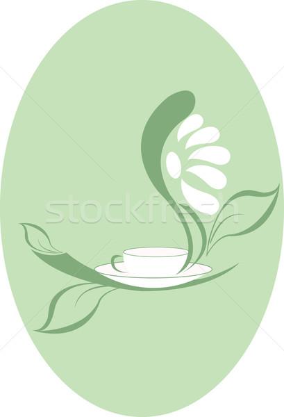 Zöld tea csésze zöld levelek fehér virág virág ital Stock fotó © Irinavk