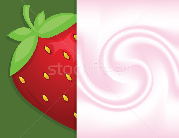 Háttér joghurt nagy friss eper étel Stock fotó © Irinavk