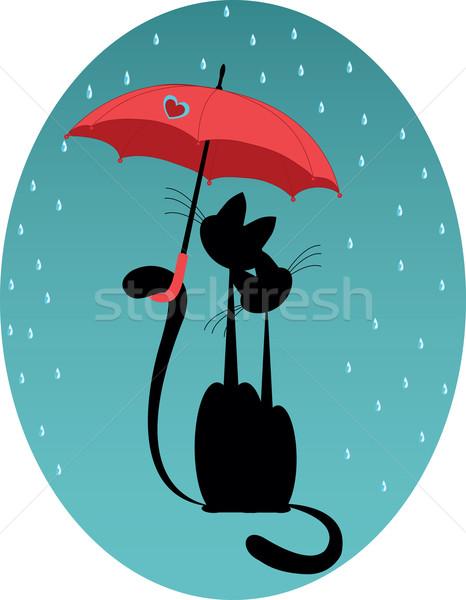 Szeretet macska esernyő eső kéz mosoly Stock fotó © Irinavk