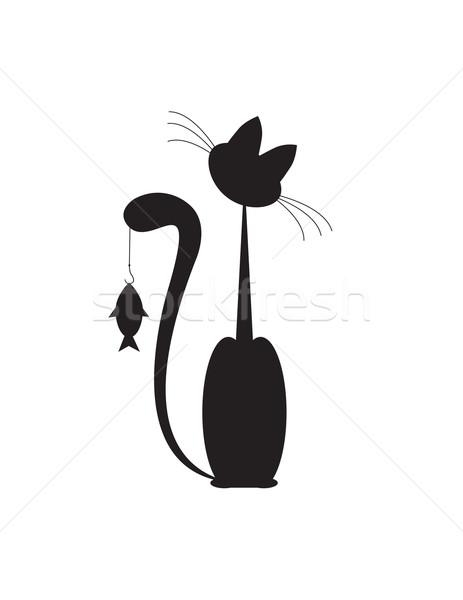 Macska hal nagy feketefehér étel gyermek Stock fotó © Irinavk