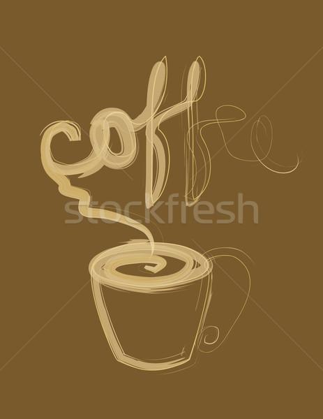 Csésze kávéscsésze kávé sötét barna szív Stock fotó © Irinavk