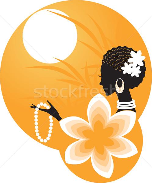Lány nő Afrika virágok arc divat Stock fotó © Irinavk
