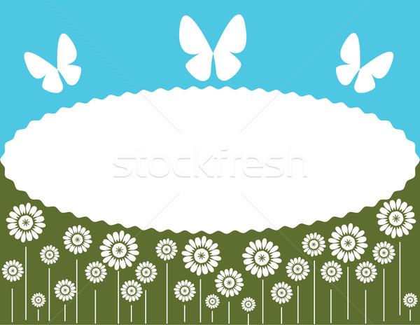 Háttér virágok pillangó terv űr kék Stock fotó © Irinavk