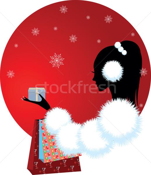 Meisje vrouw christmas geschenk winter ontwerp Stockfoto © Irinavk