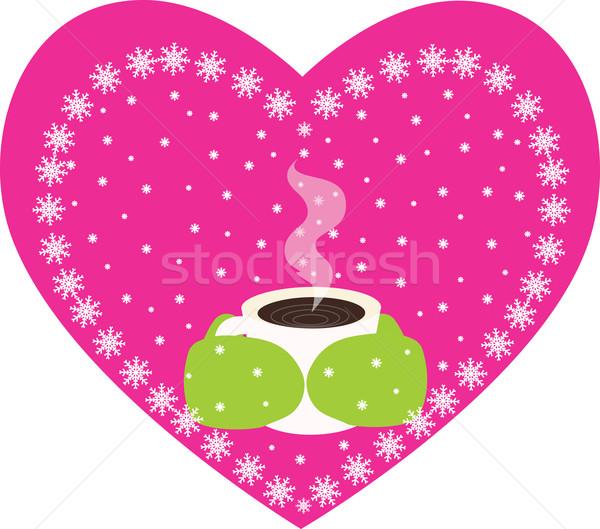 Kávé tea tél pár meleg ujjatlan kesztyűk Stock fotó © Irinavk