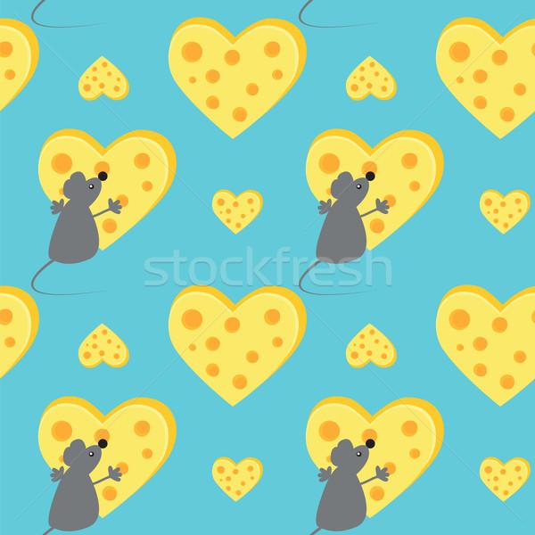 Ratón queso corazón amor fondo Foto stock © Irinavk
