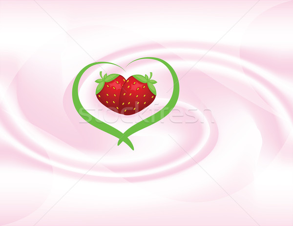 Vector frutas yogurt resumen dos fresa Foto stock © Irinavk