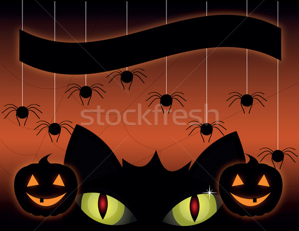 Fekete macska halloween aranyos halloween tök mosoly boldog Stock fotó © Irinavk