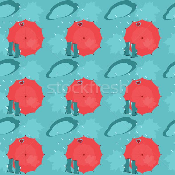Minta végtelen minta esernyők csizma felhők eső Stock fotó © Irinavk