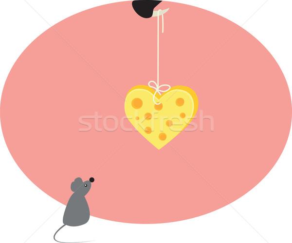 Egér szív sajt macska Stock fotó © Irinavk