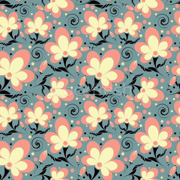 Végtelen minta absztrakt virágok levél textúra tavasz Stock fotó © Irinavk