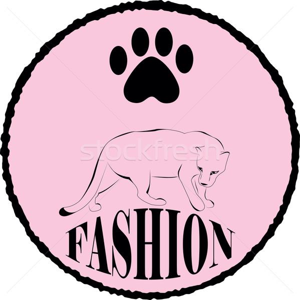 Panther круга розовый цвета силуэта Сток-фото © Irinavk