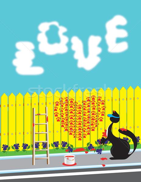 Macska kerítés piros festék szív égbolt Stock fotó © Irinavk