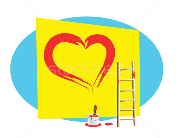 Rajzolt szív festék fal piros Stock fotó © Irinavk