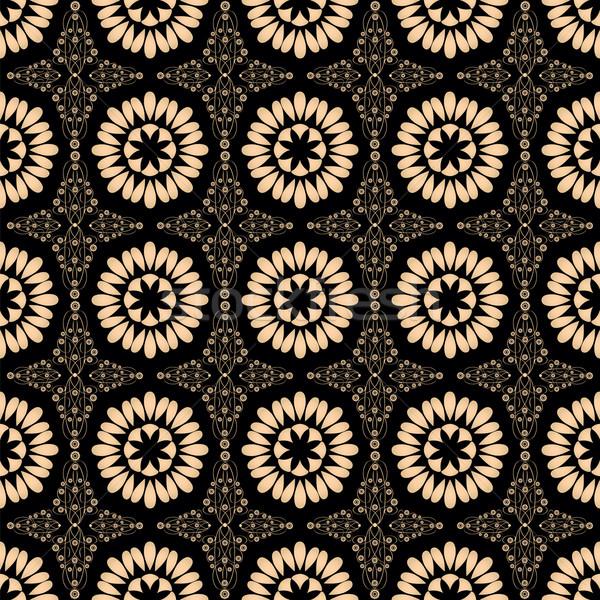 Végtelen minta arany virágok virágmintás dekoráció számítógép Stock fotó © Irinavk