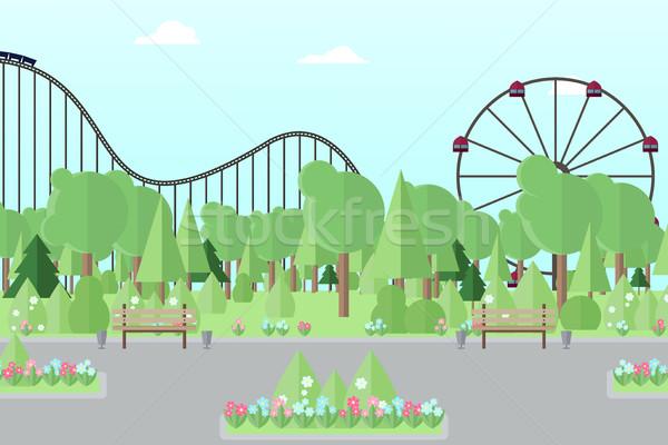 Foto d'archivio: Città · parco · di · divertimenti · persone · parco · ricreazione · albero