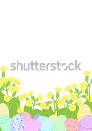 Cartão ovos de páscoa decorado decorativo padrão Foto stock © Irinka_Spirid