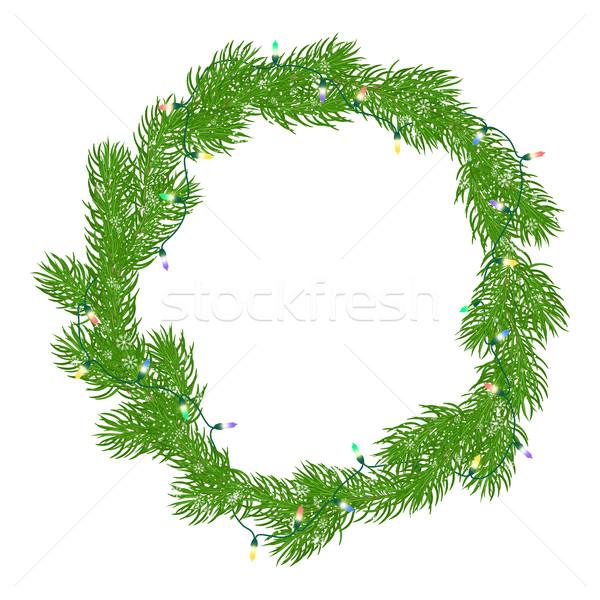 Naturales Navidad corona marco brillante verde Foto stock © Irinka_Spirid