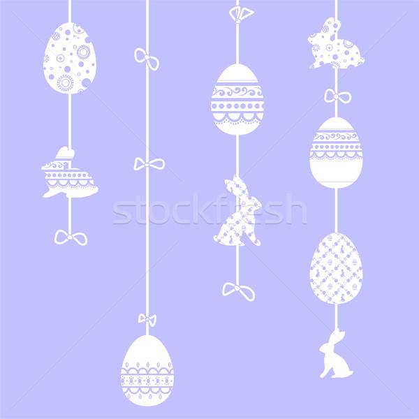 Feliz pascua tarjeta de felicitación decoración Conejo de Pascua decorado huevos de Pascua Foto stock © Irinka_Spirid