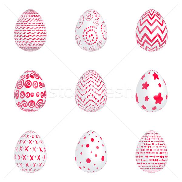 Foto stock: Rojo · huevos · establecer · Pascua · blanco · patrones