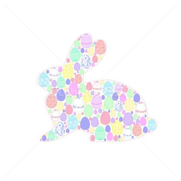 Feliz pascua silueta Conejo de Pascua colorido huevos Foto stock © Irinka_Spirid