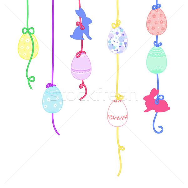 Feliz pascua tarjeta de felicitación Conejo de Pascua huevos de Pascua adornos Foto stock © Irinka_Spirid
