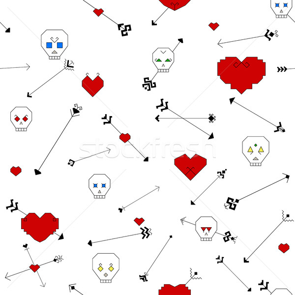 Estilizado cráneo corazón flechas blanco Foto stock © Irinka_Spirid