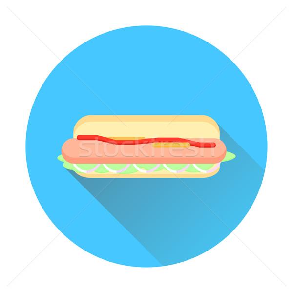 Hot dog lang schaduw icon voedsel Stockfoto © Irinka_Spirid