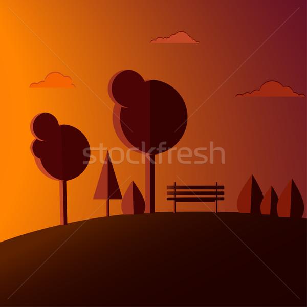Panchina Hill alberi tramonto design Foto d'archivio © Irinka_Spirid