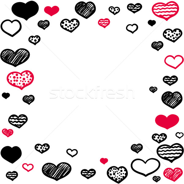 Marco cuadrados variedad diferente corazones Foto stock © Irinka_Spirid