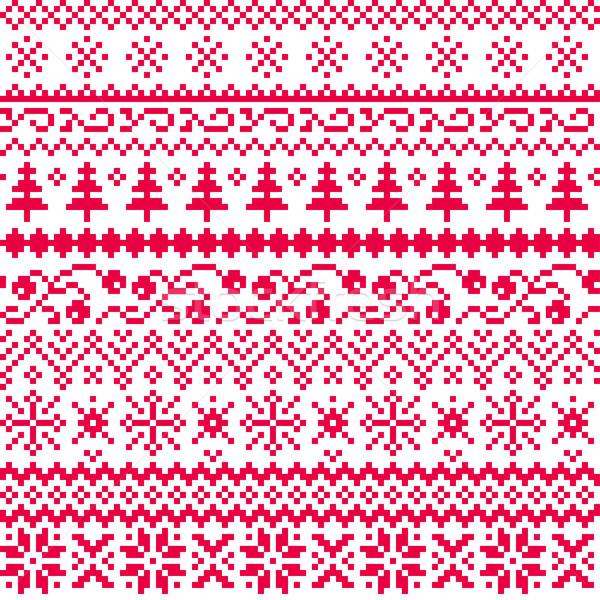 Navidad sin costura vector patrón étnicas Foto stock © Irinka_Spirid