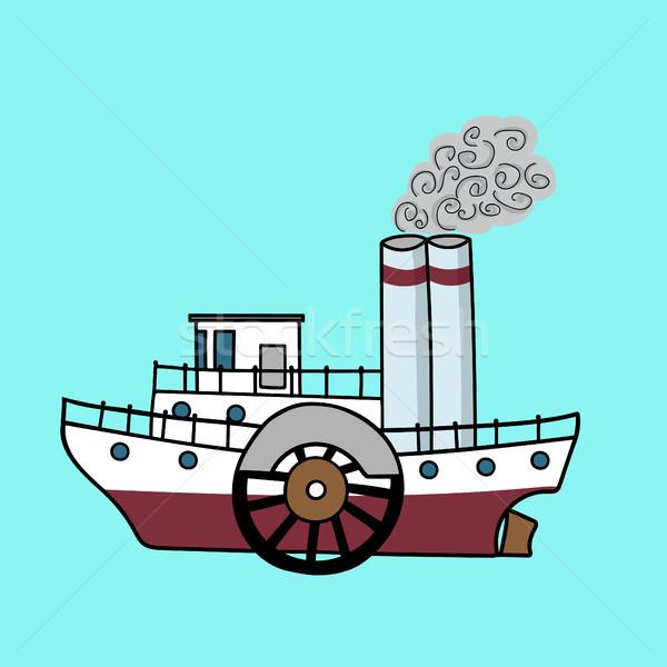 Cartoon buque de vapor buque de vapor estilo retro edad buque de vapor Foto stock © Irinka_Spirid