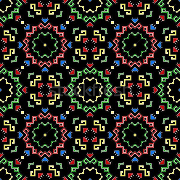 Sin costura patrón geométrico geométrico tradicional elementos Foto stock © Irinka_Spirid