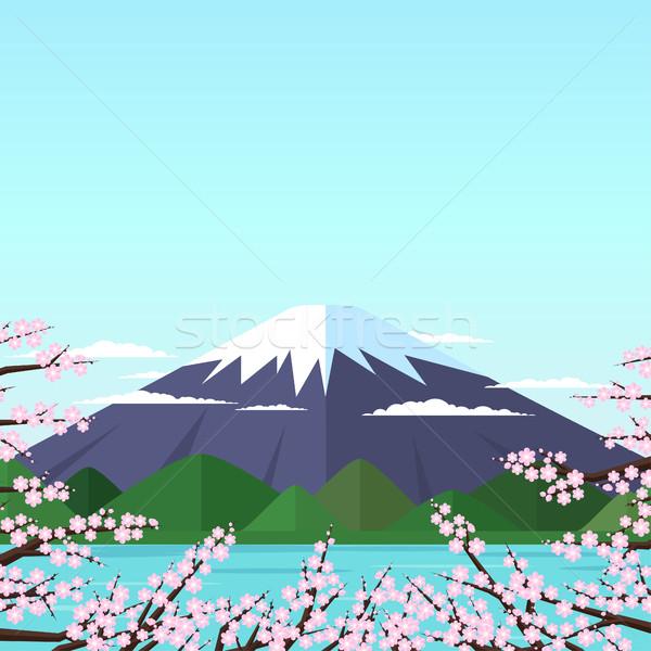Fuji Dağı dağ göl çiçekli pembe Stok fotoğraf © Irinka_Spirid