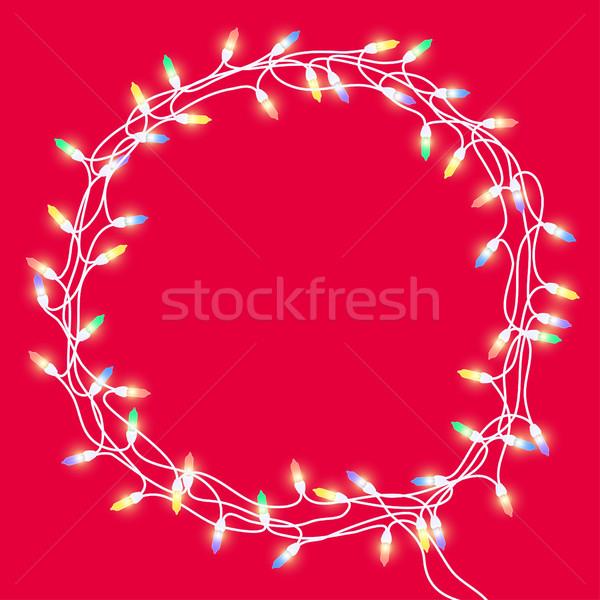 Alegre Navidad guirnalda corona marco colorido Foto stock © Irinka_Spirid