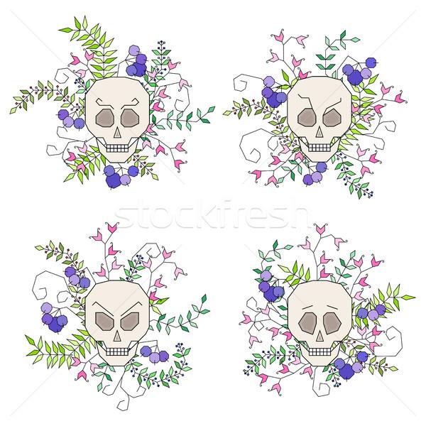 Establecer aislado cráneo flores hojas geométrico Foto stock © Irinka_Spirid