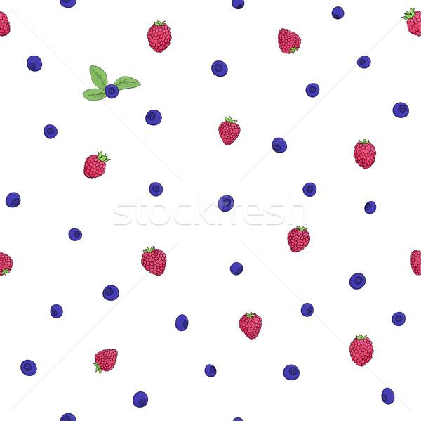 Frambuesa arándano patrón sin costura naturales frambuesas Foto stock © Irinka_Spirid