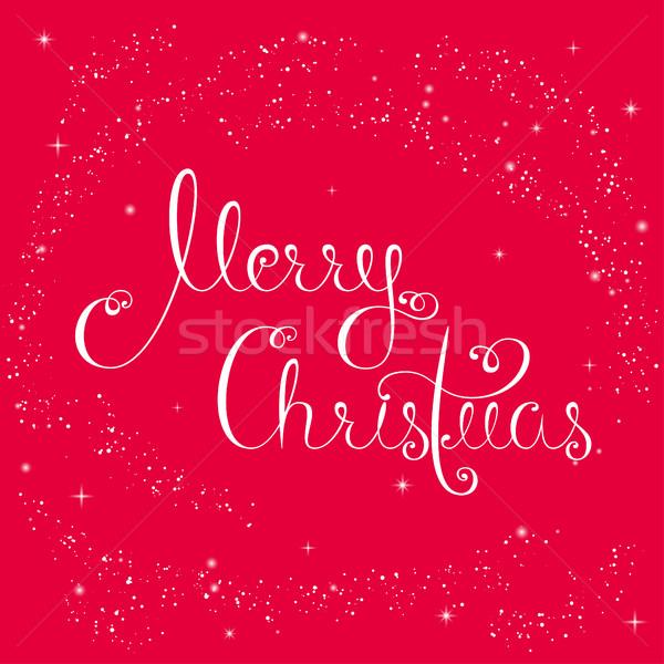 Allegro Natale neve vacanze biglietto d'auguri scritto Foto d'archivio © Irinka_Spirid