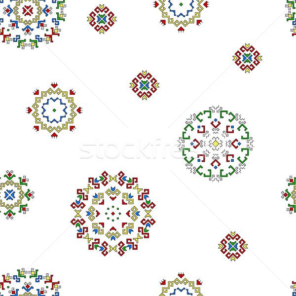 Foto d'archivio: Senza · soluzione · di · continuità · disegno · geometrico · pattern · tradizionale · elementi