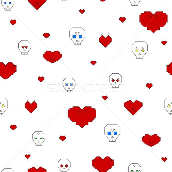 Estilizado corazones blanco cráneo Foto stock © Irinka_Spirid