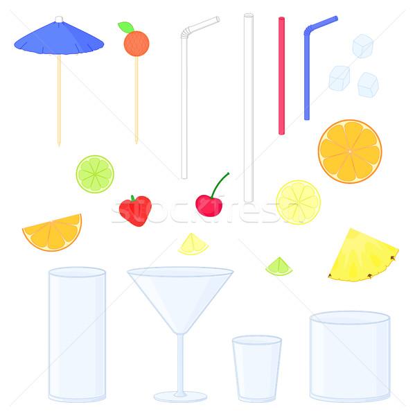 Cóctel color establecer aislado elementos frutas Foto stock © Irinka_Spirid
