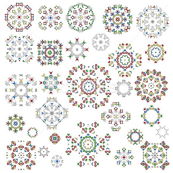Geometrica modelli set isolato tradizionale elementi Foto d'archivio © Irinka_Spirid